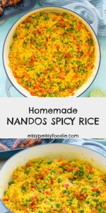 Want to make Nandos Spicy Rice at home? Then this Homemade Nandos Spicy Rice recipe is for you! And the best news? It only takes 20 minutes… and one pan! #nandos #nandosrice #nandosspicyrice #nandoscopycat #rice #spicyrice #homemadenandos #fakeaway #easydinners #familydinners #midweekmeals #easypeasyfoodie #cookblogshare