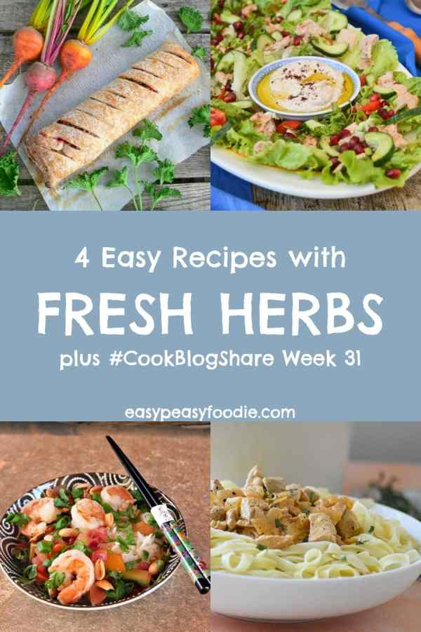 Be inspired to make the most of fresh herbs this summer with these 4 easy recipes with fresh herbs, showcasing basil, tarragon, parsley, mint and more… Plus find the linky for #CookBlogShare Week 31. #herbs #freshherbs #cookingwithherbs #herbcooking #vegansausageroll #fattoush #shrimpstirfy #prawnstirfry #porkstroganoff #mint #parsley #basil #thaibasil #coriander #cilantro #tarragon #easydinners #easymeals #familydinners #midweekmeals #easypeasyfoodie