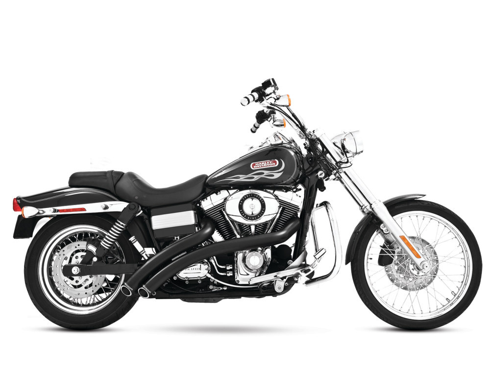 freedom performance fpe hd00399 radical radius exhaust black w black end caps for dyna 06 17 freedom performance exhaust
