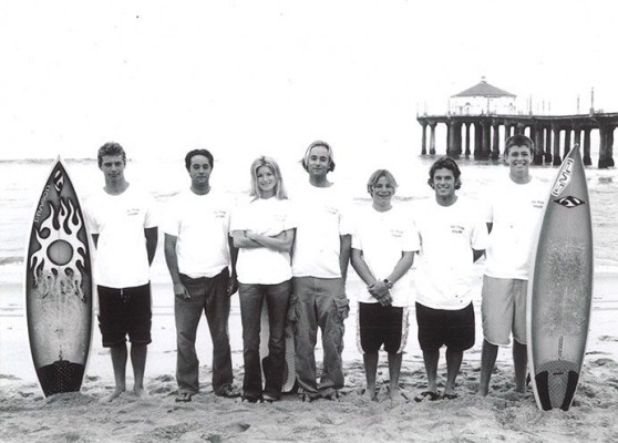 The original Campsurf crew, circa 1999: Left to Right: Jeff Riley, Jeff Miller, Marisa Miller, Jimmy Miller, Tommy Ostendorf, Keith Whitmer, and Mark Gerold