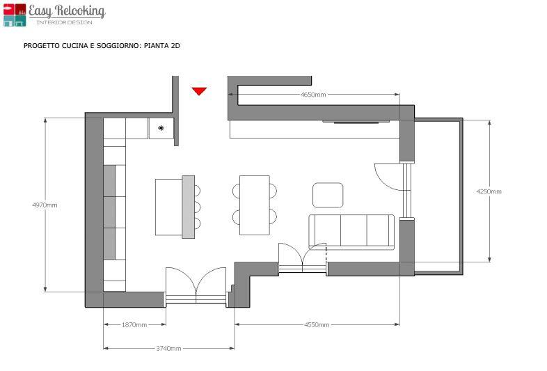 Progettazione interni open space con faretti diviso da muretto. Open Space Cucina E Soggiorno1 Easyrelooking