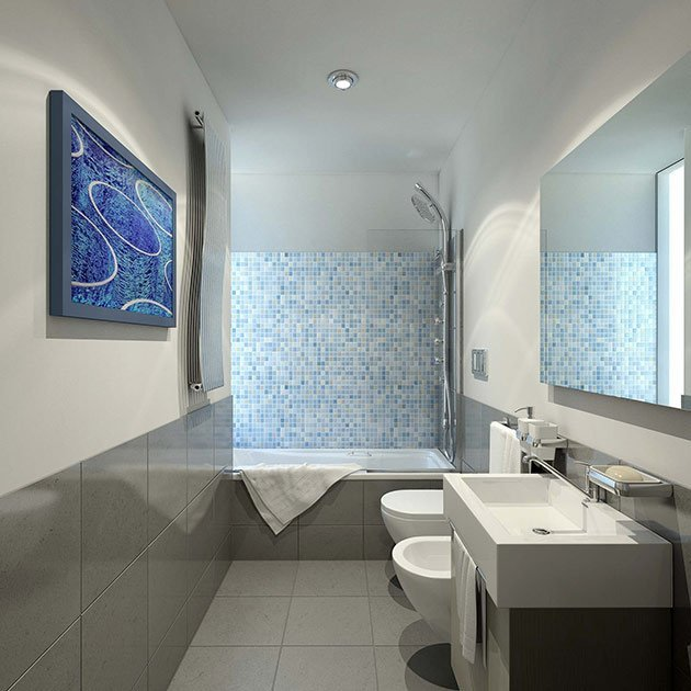 bagno moderno mosaico. bicottura effetto metalizzato with bagno ... - Bagni Con Mosaico Moderni
