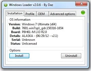 Windows 7 Activator button push to install