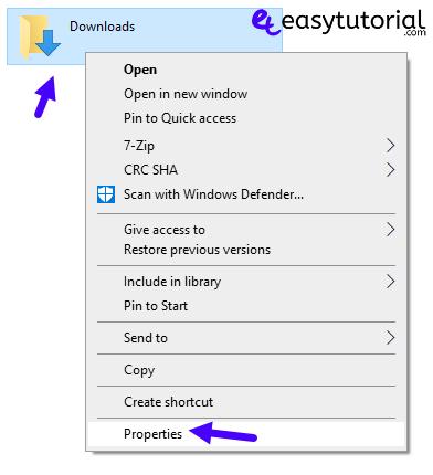Change Downloads Location Hard Disk 1 Properties
