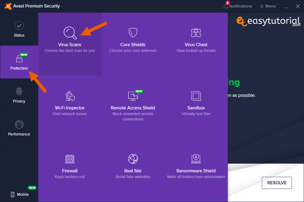 Avast Protection Virus Scans Choose The Best Scan For You Windows 10