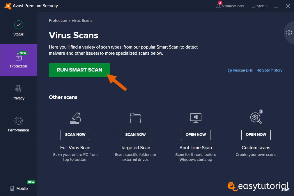 Run Smart Scan Virus Scans