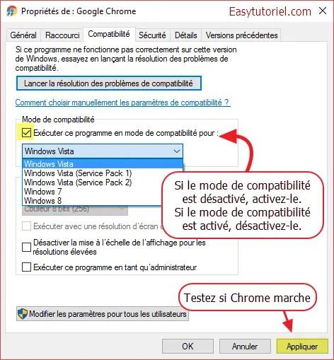 mode de compatibilite google chrome