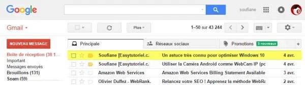 1 gmail bloquer boite reception