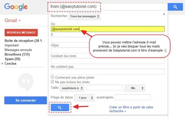 2 recherche filtre gmail bloquer