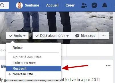Amis Restreint Facebook