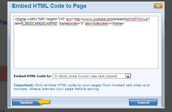 How to insert HTML Embed code to my website using HTML Editor