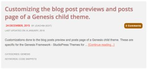 Customizing the blog post previews and posts page of a Genesis child theme.