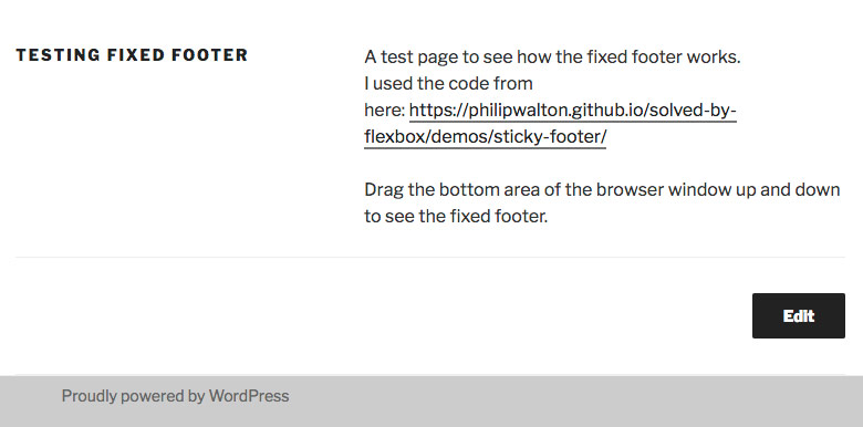 Creating a fixed footer