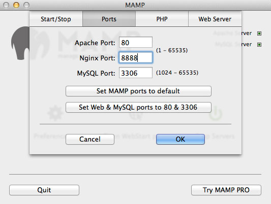 MAMP-change-port-numbers