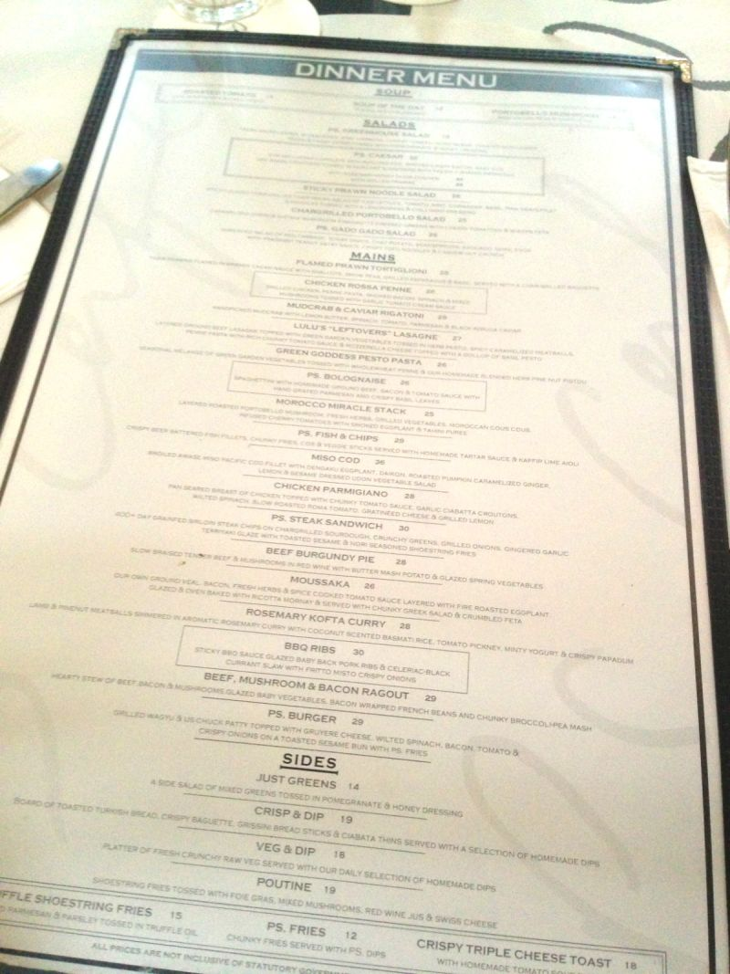 Dinner Menu at PS. Cafe Dempsey Hill