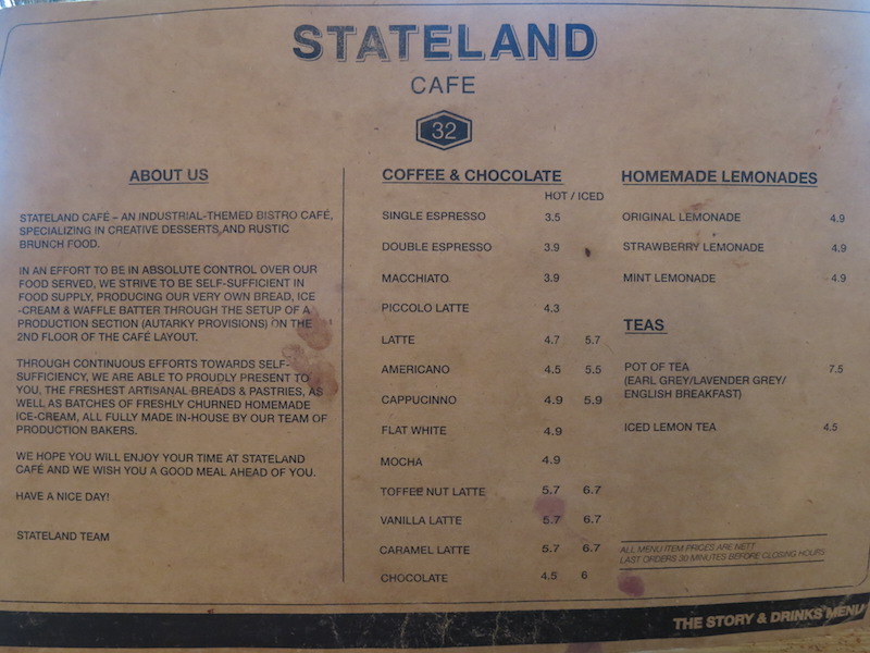Stateland Cafe Drinks Menu