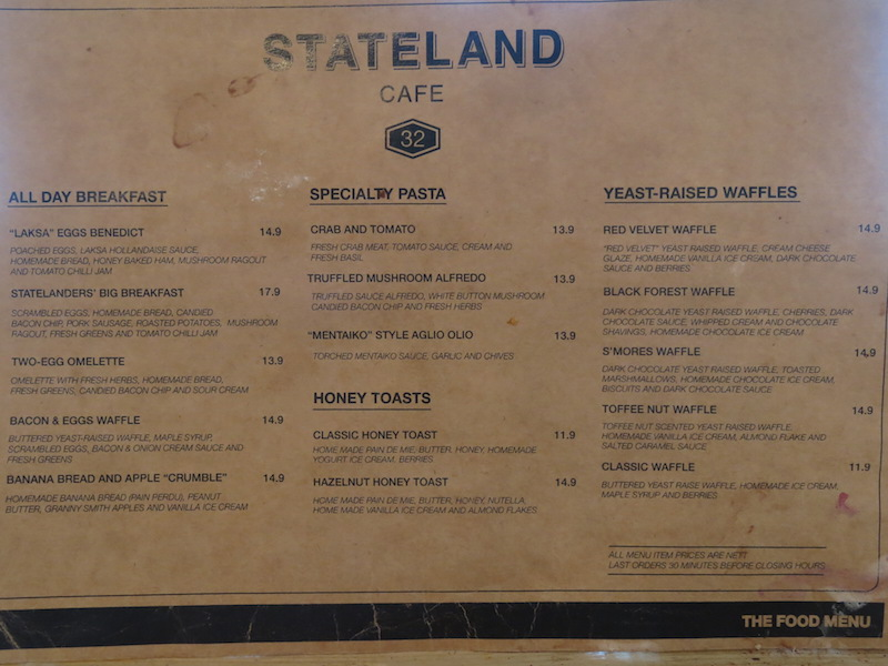 Stateland Cafe Food Menu