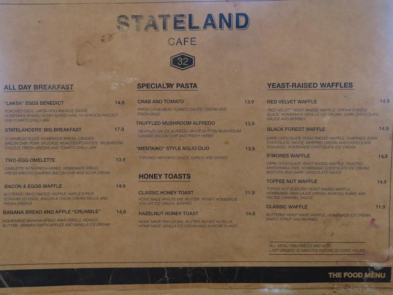 Stateland Cafe Food Menu