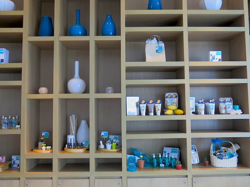 Shelf with spa products