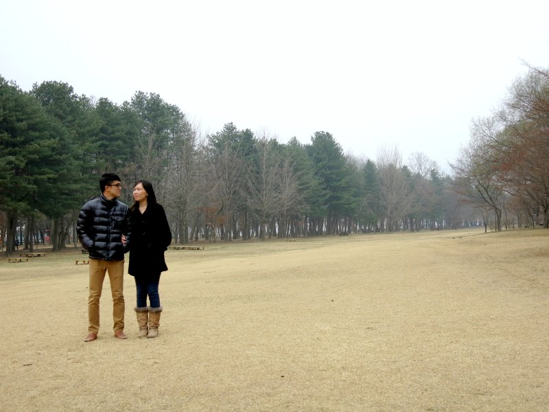 Evan and Raevian at Grass Field on Nami Island