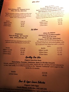 Zeffirellis Wine Menu