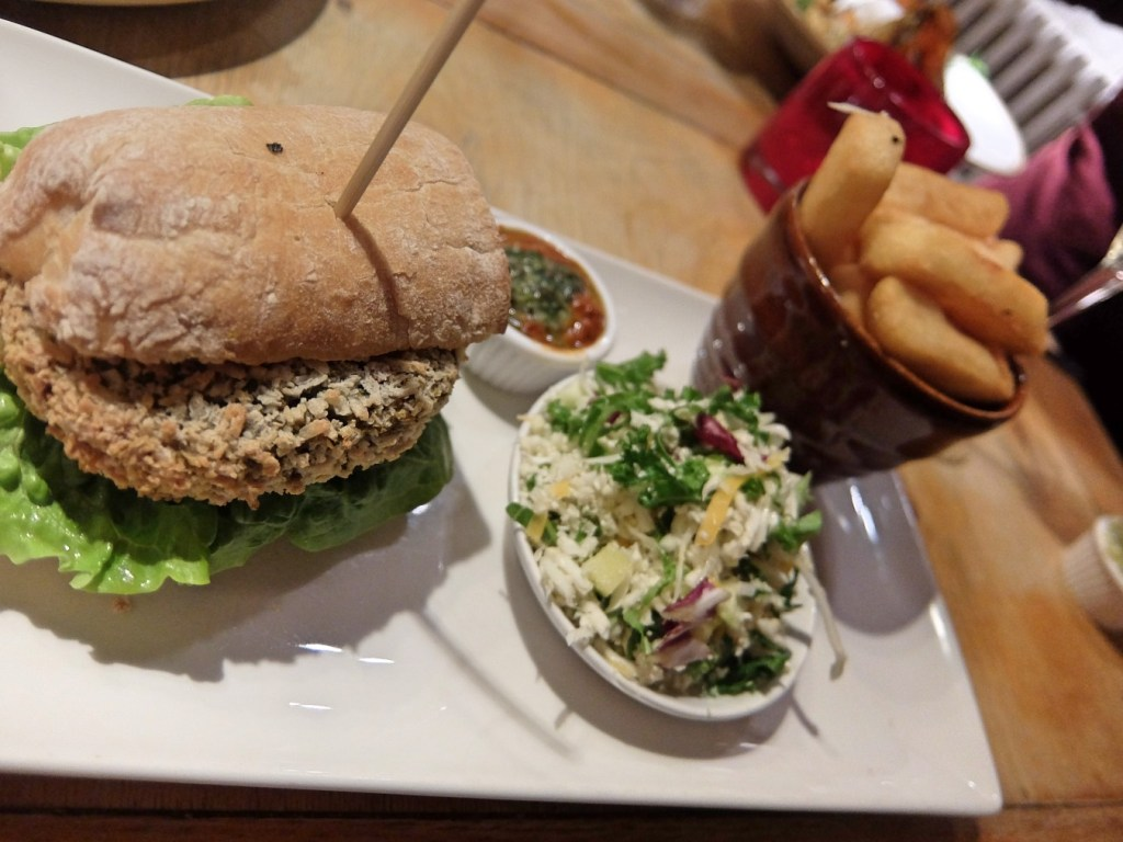 Vegan Burger at the Woodside Pub and Restaurant