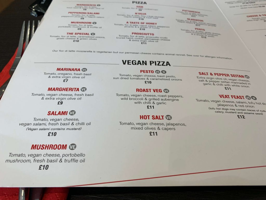 All the vegan pizzas