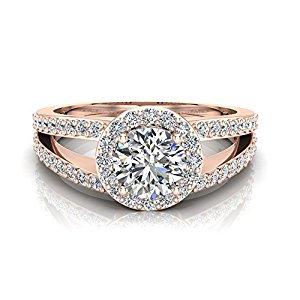 Engagement Rings - 1.40 ct tw Round Brilliant Split Shank Halo Engagement Ring 14K Gold (G,VS)