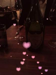 champagne bottle with hearts