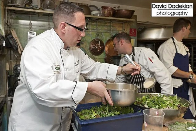 The Mooring Seafood Kitchen & Bar's Chef Michael Conetta preparing his salad course