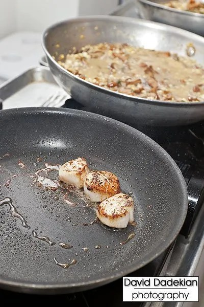 cooking Bacaro's scallops with corn and chanterelles