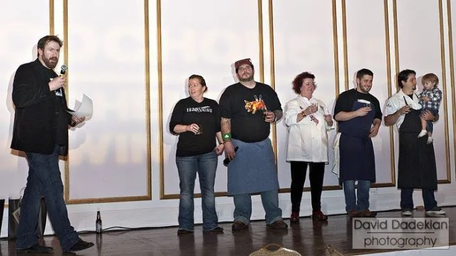 from left to right: Cochon 555 founder Brady Lowe; Chef Mary Dumont of Harvest; Chef Matt Jennings of Farmstead / La Laiterie; Chef Lydia Shire of Scampo, Locke-Ober and Towne Stove and Spirits; Chef Will Gilson of Garden at the Cellar; and Chef Barry Maiden of Hungry Mother