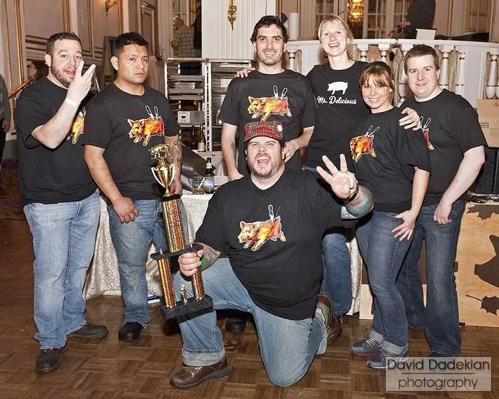 Chef Matt Jennings (holding trophy) with the Farmstead / La Laiterie team