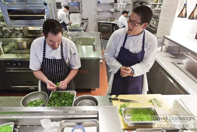 Chef Derek Wagner of Nick's on Broadway with Chef Eric Haugen of Seasons at the Ocean House