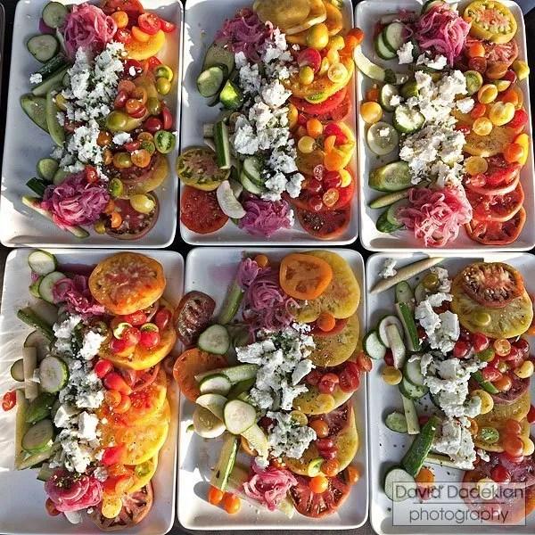 Heirloom tomatoes, cucumbers, onions & Narragansett Creamy Salty Sea Feta