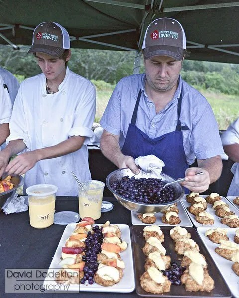 Plating tarragon & lavender shortcakes with lemon curd & Barden Orchard peaches