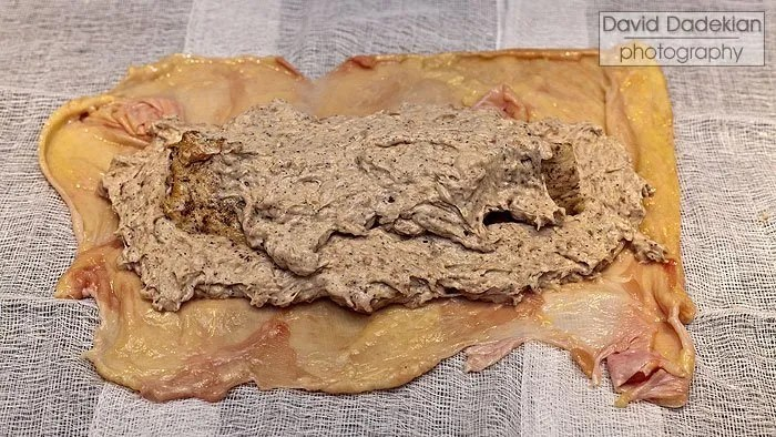 Skin with seared breast meat inside forcemeat