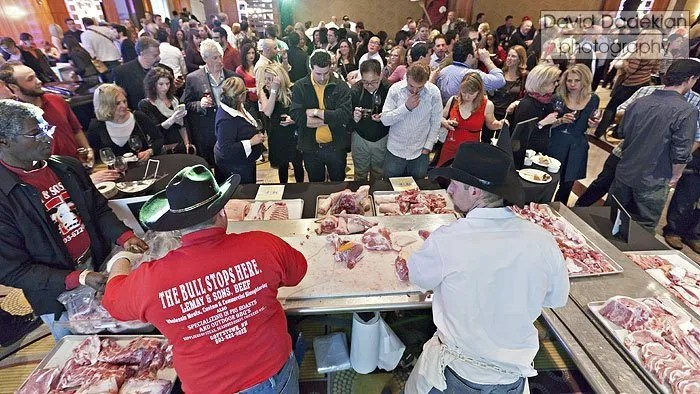 The crowd watching the Lemay & Sons Beef butchery demo of a whole Berkshire from Brambly Farms