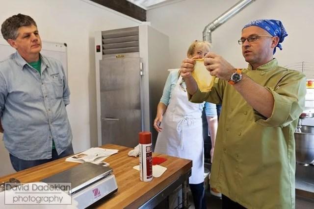 Chef Ciril Hitz demonstrates window pane dough test