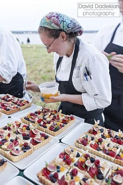 Melissa Denmark plating her dessert