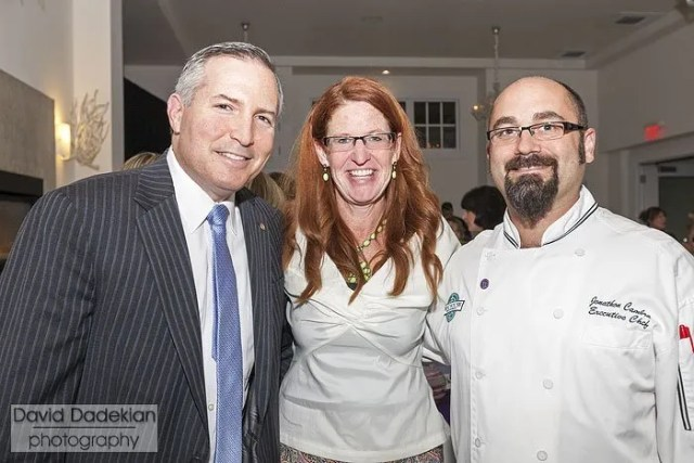 March of Dimes Director, New England Collaborative Betsy Akin in center with Chef Jonathan Cambra at right