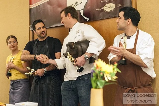 The four chef winners, from left to right: Cassie Piuma of Oleana, Michael Scelfo of Russell House Tavern, Brian Reynelt of Citizen and Brian Rae of Rialto