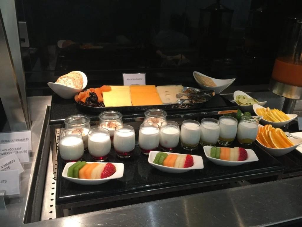 Etihad Arrivals Lounge Abu Dhabicheese fruits
