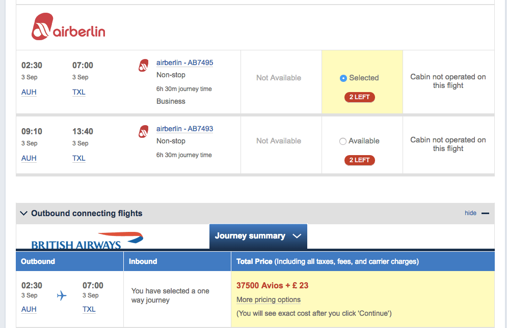 Points Miles Roulette Air Berlin 1