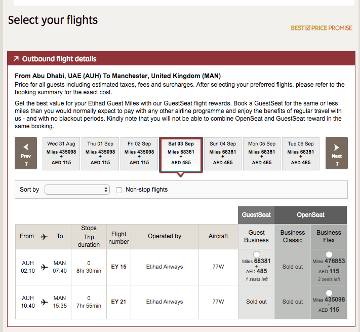Points Miles Roulette Etihad Airways 2