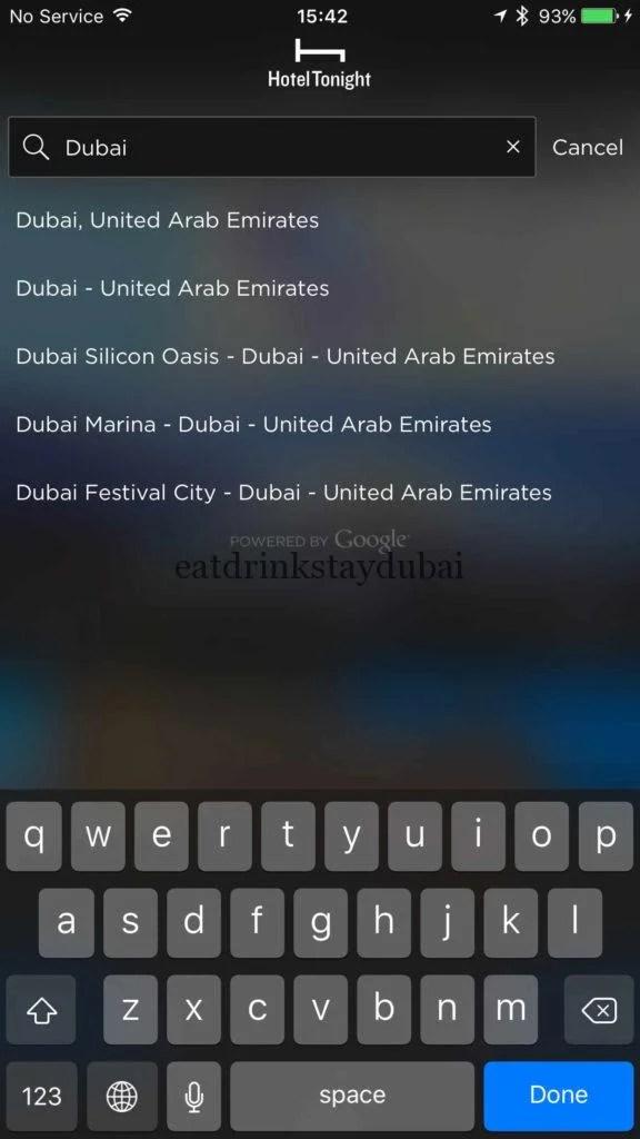 Hotel Tonight Dubai areas - different names