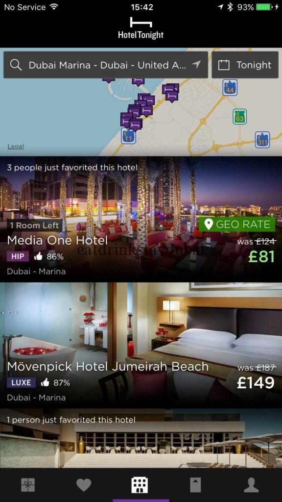 Hotel Tonight Geo Rate - additional £43 discount off Media One hotel Dubai