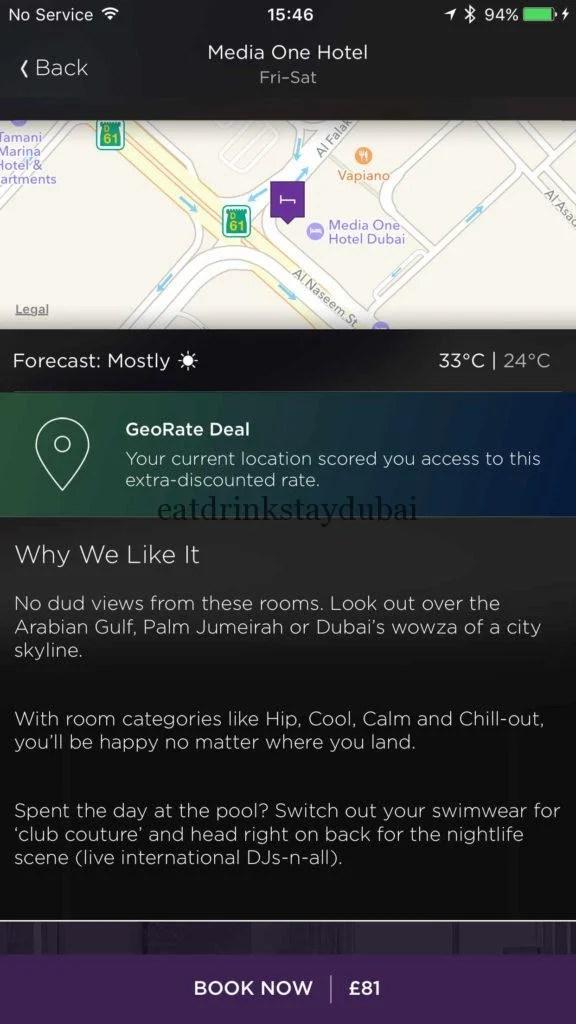 Hotel Tonight Description of Media One hotel Dubai