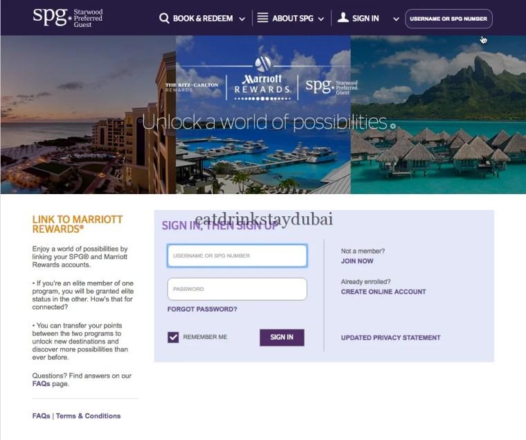 SPG Marriott Rewards Status Match - signup