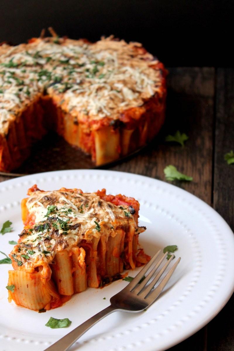 Rigatoni Pie with Spicy Pomodoro Sauce (Vegan)